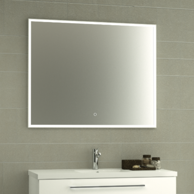 miroir 80x80 cm encadr avec clairage led le coin salle. Black Bedroom Furniture Sets. Home Design Ideas
