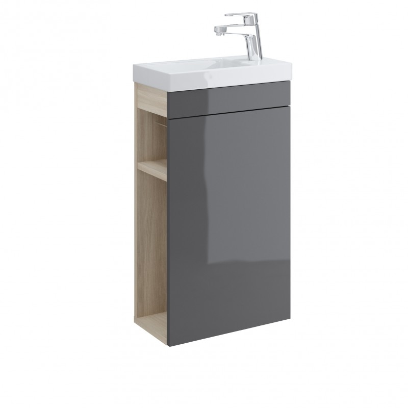 Smart meuble lave main 40 cm gris le coin salle de bain for Lave mains meuble